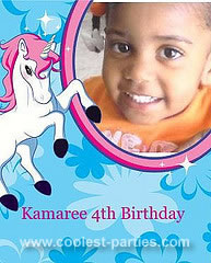 Personalized Unicorn Birthday Photo Invitation