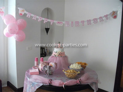Spa Party cake and snack corner