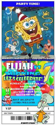 Elijah's Spongbob Invitation
