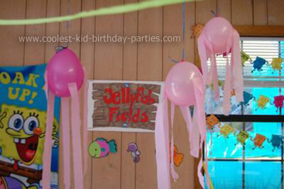 Dont Forget To Hang Jellyfish Made From Half Cut Paper Plates With Streamers Attached Resemble Tentacles And Sprinkle Various SpongeBob Accessories